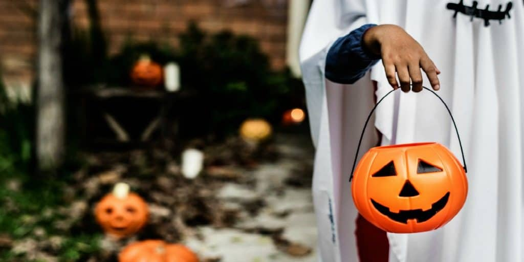 ghost trick or treater on Halloween