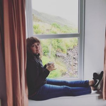 Entrepreneur Amanda Page relaxing on a window seat