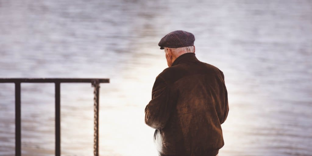 grandpa looking out at a body of water