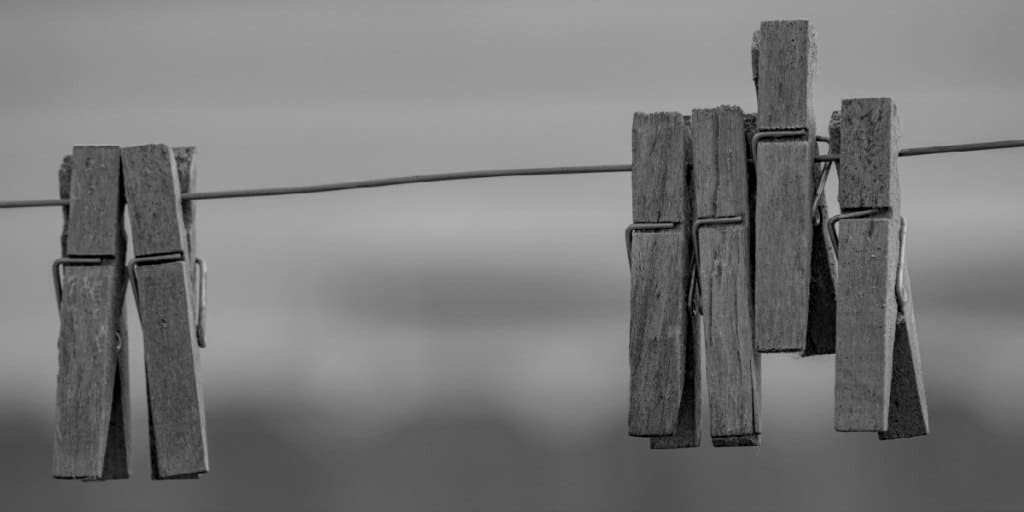 wooden clothes pin on a line