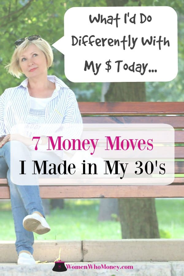 women on a park bench reflecting on the money moves she mad in her 30's and what she would do differently today