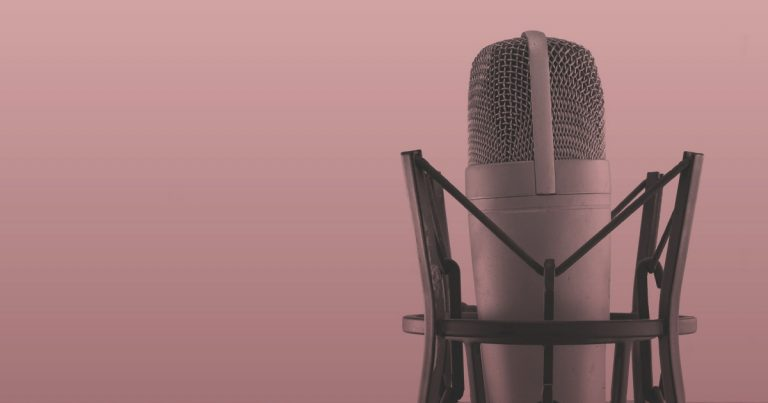recording microphone for women hosted podcasts up against a pink background