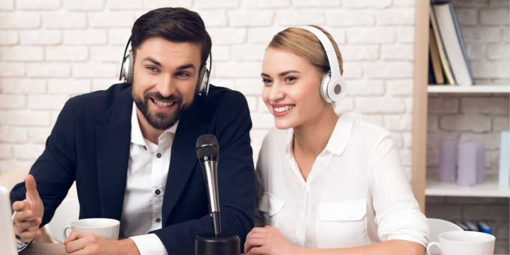 couple hosting a personal finance podcast