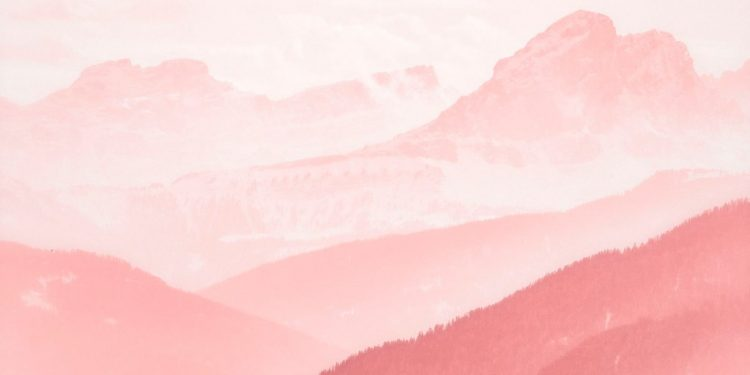 photo of pink colored mountains